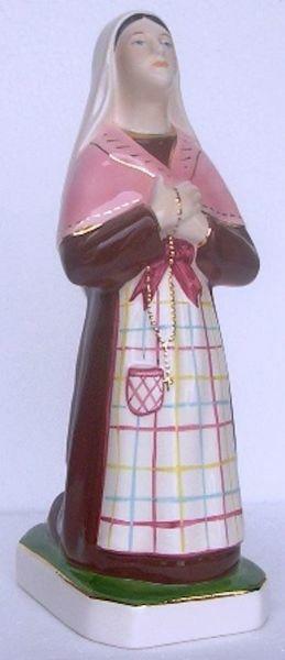 Immagine di Statua Santa Bernadette di Lourdes cm 27 (10,6 in) Ceramica invetriata di Deruta dipinta a mano