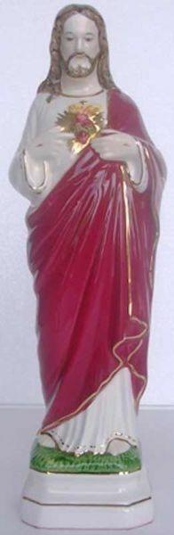 Immagine di Statua Sacro Cuore di Gesù cm 30 (11,8 in) Ceramica invetriata di Deruta dipinta a mano