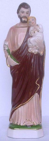 Immagine di Statua San Giuseppe cm 30 (11,8 in) Ceramica invetriata di Deruta dipinta a mano