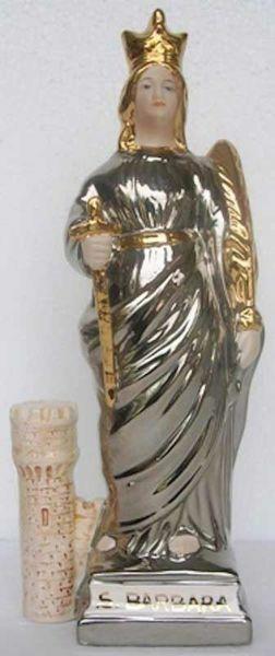 Immagine di Statua Santa Barbara cm 30 (11,8 in) Ceramica invetriata di Deruta dipinta a mano