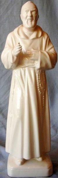 Immagine di Statua Santo Padre Pio da Pietrelcina cm 30 (11,8 in) Ceramica invetriata di Deruta dipinta a mano