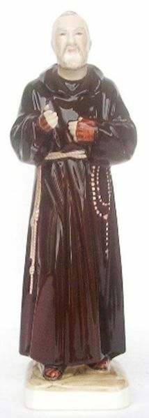 Picture of Statue St. Padre Pio of Pietrelcina cm 30 (11,8 in) Hand-painted glazed Ceramic of Deruta