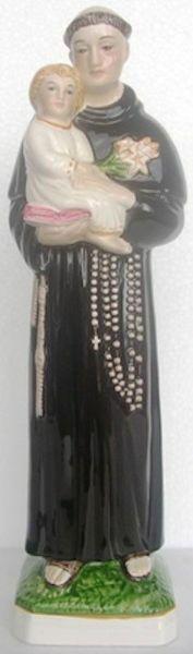 Immagine di Statua Sant'Antonio da Padova cm 35 (13,8 in) Ceramica invetriata di Deruta dipinta a mano