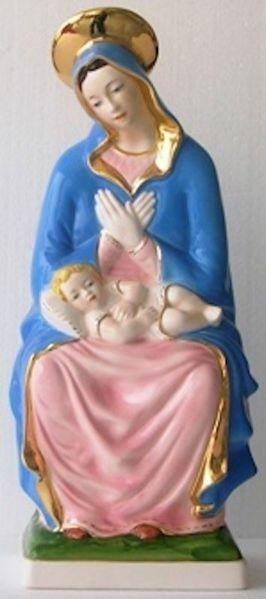 Immagine di Statua Madonna con Bambino cm 38 (15 in) Maiolica invetriata di Deruta dipinta a mano