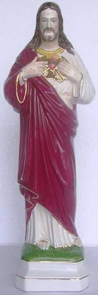 Immagine di Statua Sacro Cuore di Gesù cm 50 (19,7 in) Maiolica invetriata di Deruta dipinta a mano
