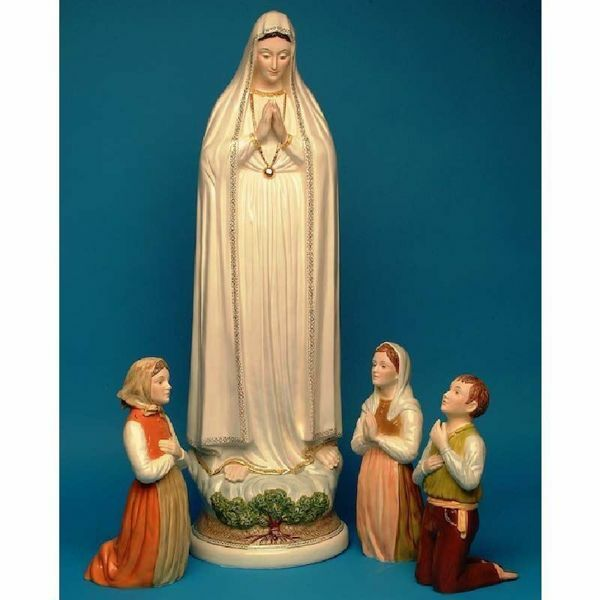 Picture of Set 4 Statues Our Lady of the Holy Rosary & Three Shepherd Children of Fatima cm 100 (39,4 in) and cm 40 (15,7 in) Hand-painted glazed Ceramic of Deruta
