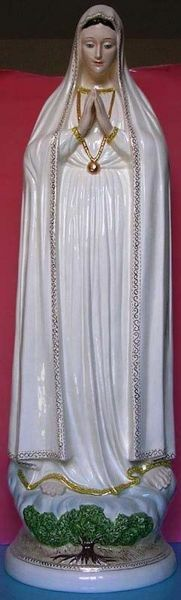 Picture of Statue Our Lady of the Holy Rosary of Fatima cm 100 (39,4 in) Hand-painted glazed Ceramic of Deruta