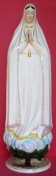 Immagine di Statua Madonna di Fatima cm 80 (31,5 in) Ceramica invetriata di Deruta dipinta a mano