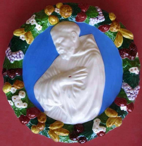 Immagine di San Francesco Tondo da Muro diam. cm 26 (10,2 in) Bassorilievo Ceramica Robbiana