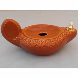 Immagine di Set 4 Lucerne Votive Cera Liquida cm 15 (5,9 in) Decorata Lampade Olio Ceramica