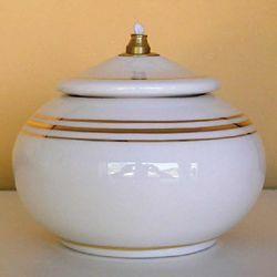 Imagen de Set de 4 Lámparas Cera Líquida cm 12 (4,7 in) Candiles Aceite Cerámica Blanca Hilo de Oro
