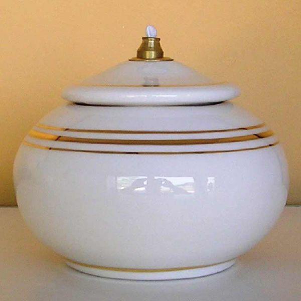 Picture of Set of 4 Liquid Wax Votive Lanterns cm 12 (4,7 in) Ceramic Oil Lamps White Gold Thread
