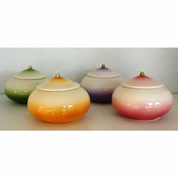 Immagine di Set 4 Lucerne Votive Cera Liquida cm 15 (5,9 in) Tonda Lampade Olio Ceramica Colori Liturgici