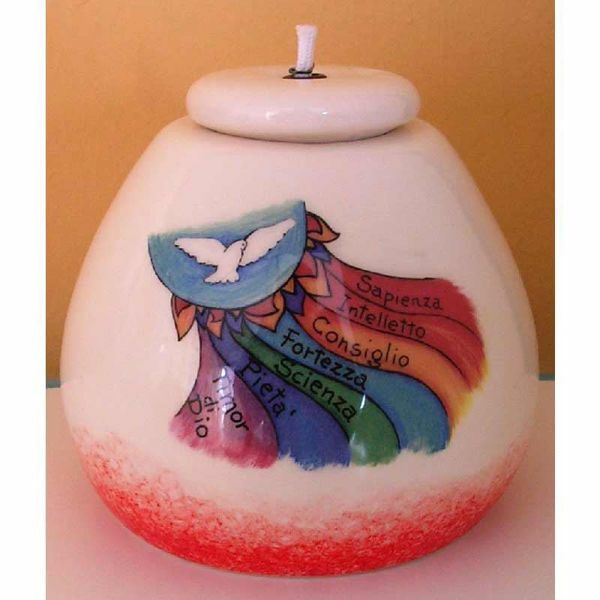 Picture of Set 4 Liquid Wax Lanterns Confirmation cm 8x8 (3,1x3,1 in) Seven Gifts of the Holy Spirit Ceramic Oil Lamps