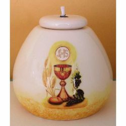 Picture of Set 4 Liquid Wax Lanterns First Communion cm 8x8 (3,1x3,1 in) Chalice JHS Symbol Ceramic Oil Lamps