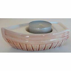 Immagine di Set 4 Portalumi Candela Votiva cm 11 (4,3 in) Barchetta Lampade Lumino Tealight Ceramica