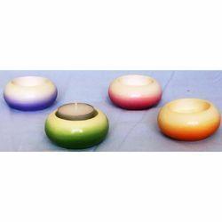 Immagine di Set 4 Portalumi Candela Votiva cm 7 (2,8 in) Tondo Lampade Lumino Ceramica Colori Liturgici