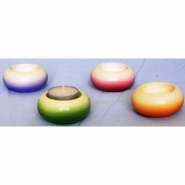 Imagen de Set de 4 Lámparas Vela Votiva cm 7 (2,8 in) Redonda Linternas Cerámica Colores Litúrgicos