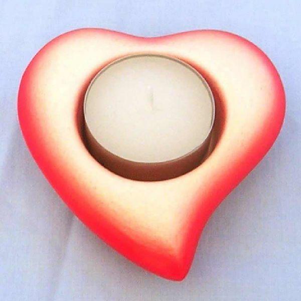 Immagine di Set 4 Portalumi Candela Votiva cm 8 (3,1 in) Cuore Lampade Lumino Ceramica Rossa