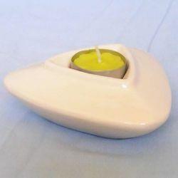 Immagine di Set 4 Portalumi Candela Votiva cm 13 (5,1 in) Triangolare Lampade Lumino Ceramica