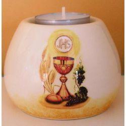 Immagine di Set 4 Portalumi Candela Cresima cm 8x6 (3,1x2,4 in) Calice Simbolo JHS Lampade Lumino Ceramica