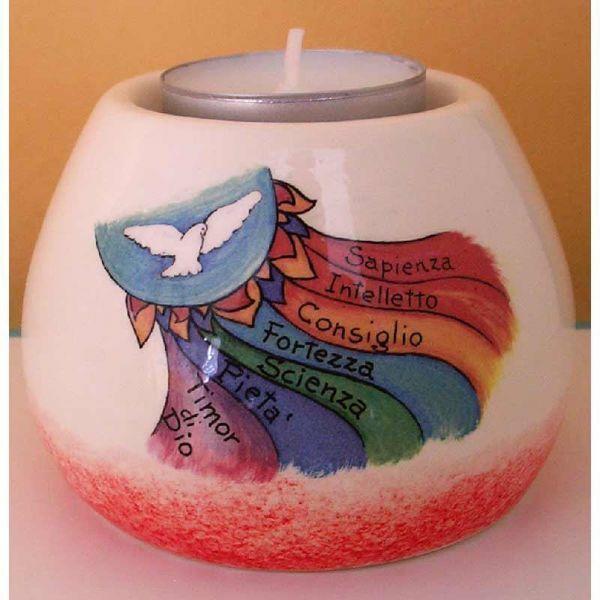 Immagine di Set 4 Portalumi Candela Cresima cm 8x6 (3,1x2,4 in) Sette Doni Spirito Santo Lampade Lumino Ceramica
