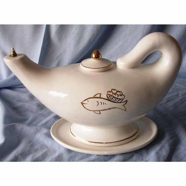 Immagine di Lampada Aladino Votiva Cera Liquida cm 32 (12,6 in) Pani e Pesci Lucerna Ceramica Bianca Filo Oro