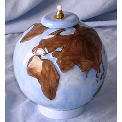 Picture of Liquid Wax Votive Lantern cm 14 (5,5 in) World Ceramic Oil Lamp Colored