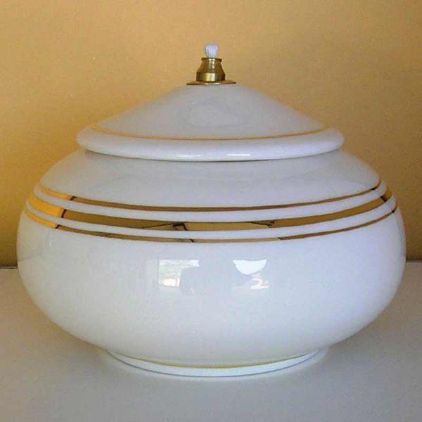 Imagen de Lámpara Cera Líquida cm 15 (5,9 in) Redonda Lisa Candil Aceite Cerámica Blanca Hilo de Oro