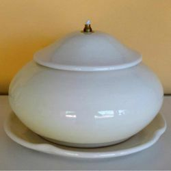 Picture of Liquid Wax Votive Lantern cm 21 (8,3 in) Smooth Round Ceramic Oil Lamp White
