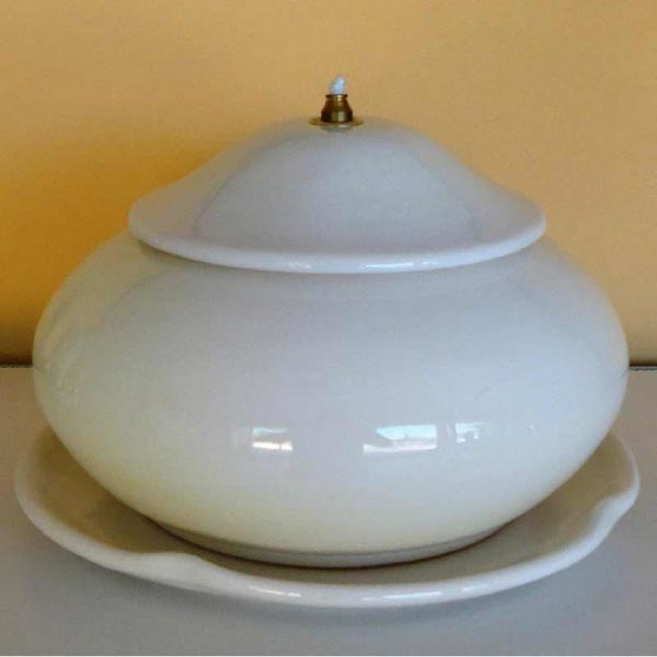 Immagine di Lucerna Votiva Cera Liquida cm 21 (8,3 in) Tonda Liscia Lampada Olio Ceramica Bianca
