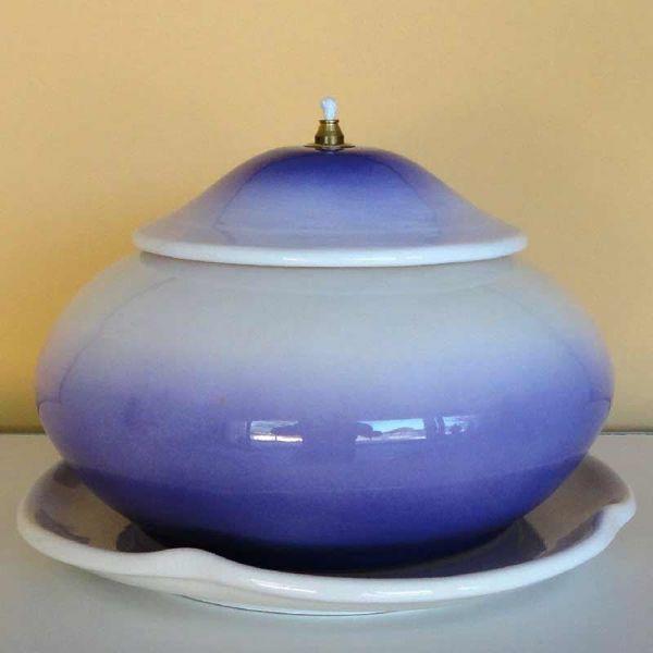 Picture of Liquid Wax Votive Lantern cm 21 (8,3 in) Smooth Round Ceramic Oil Lamp Liturgical Violet