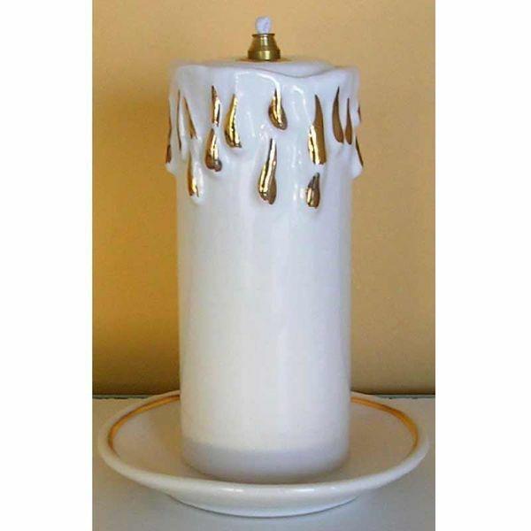 Imagen de Lámpara Votiva Cera Líquida cm 11x15 (4,3x5,9 in) Vela Candil Aceite Cerámica Blanca Hilo de Oro