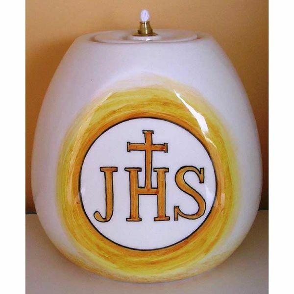 Picture of Liquid Wax Votive Lantern cm 17x17 (6,7x6,7 in) JHS Symbol Ceramic Oil Lamp