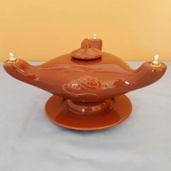 Picture of Liquid Wax Votive Lantern cm 25x10 (9,8x3,9 in) Loaves and Fish Ceramic Oil Lamp 3 Flames