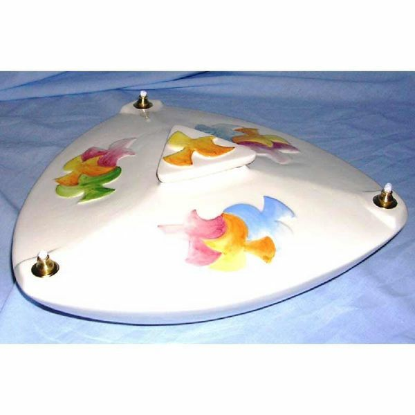 Picture of Liquid Wax Votive Lantern cm 28 (11 in) Doves Ceramic Oil Lamp White 3 Flames
