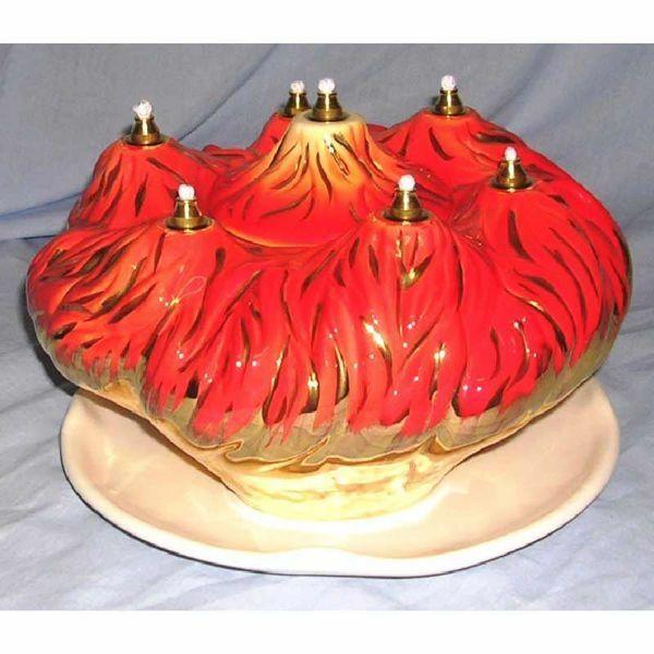 Picture of Liquid Wax Votive Lantern cm 25 (9,8 in) Fire Ceramic Oil Lamp Gold Thread 7 Flames