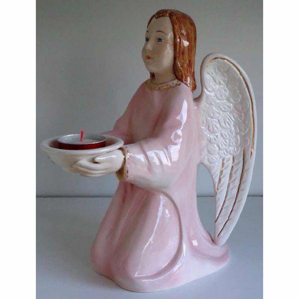 Imagen de Lámpara Vela Votiva cm 30 (11,8 in) Ángel de la Guardia Linterna Cerámica Rosa