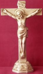Picture of Altar Crucifix with Pedestal Ivory Color cm 35 (13,8 in) in Ceramic of Deruta (Italy)