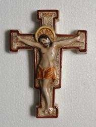 Picture of Wall Crucifix Pisano style cm 11x15 (4,3x5,9 in) in Ceramic of Deruta (Italy)