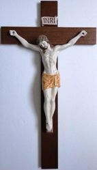 Picture of Jesus Christ on the Cross Wall Crucifix cm 80x45 (31,5x17,7 in) Ceramic of Deruta (Italy) Wood Cross