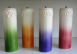 Picture of Set of 4 Liquid Wax Liturgical Colors Altar Lanterns cm 8x25 (3,1x9,8 in) Candle Ceramic Oil Lamps