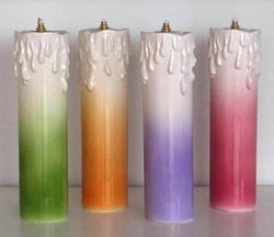 Picture of Set of 4 Liquid Wax Liturgical Colors Altar Lanterns cm 6,2x23 (2,4x9,1 in) Candle Ceramic Oil Lamps