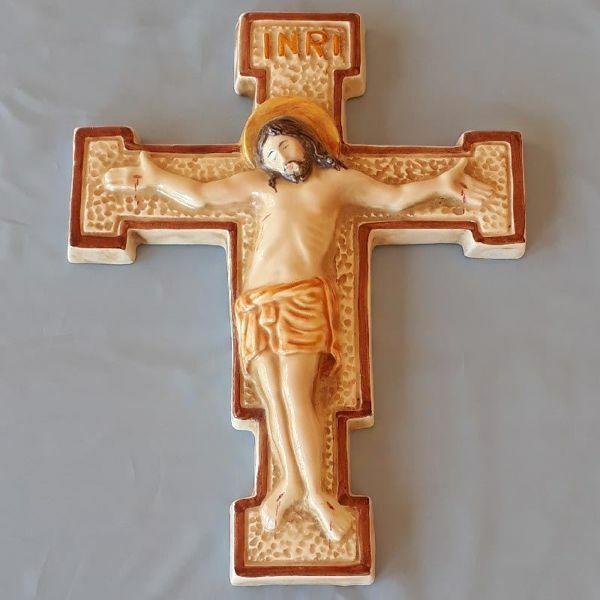 Imagen de Crucifijo de Pared Pisano cm 28x22 (11x8,7 in) en Cerámica de Deruta (Italia)