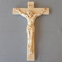 Picture of Wall Crucifix Ivory Color cm 40x25 (15,7x9,8 in) in Ceramic of Deruta (Italy)