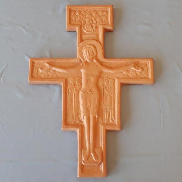 Imagen de Crucifijo de Pared Cruz de San Damián cm 36x28 (14,2x11 in) en Terracota de Deruta (Italia)