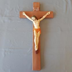 Picture of Jesus Christ on the Cross Wall Crucifix cm 60 (23,6 in) in Ceramic of Deruta (Italy)