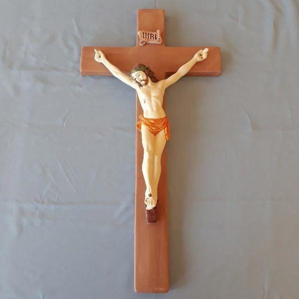 Imagen de Jesús Cristo en la cruz Crucifijo de Pared cm 60 (23,6 in) en Cerámica de Deruta (Italia)