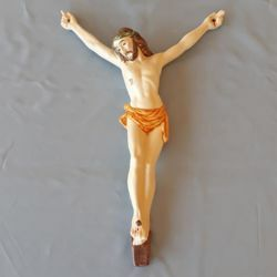 Imagen de Cuerpo de Jesús Cristo para Cruz Crucifijo de Pared cm 38 (15 in) en Cerámica de Deruta (Italia)