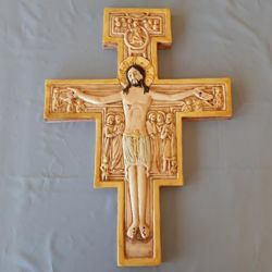 Picture of Wall Crucifix Saint Damiano Cross cm 56x41 (22x16,1 in) in Ceramic of Deruta (Italy)